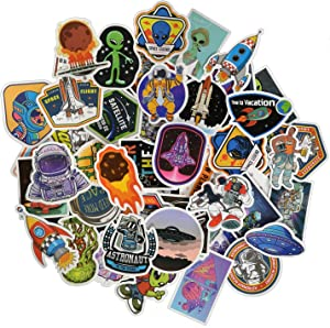 UFO Alien Space Ship Stickers, Size 1.5 to 3.5 Inch with Vinyl Decals - Assortment of Laptops Sticker Decals, UV Protected & Waterproof - 50 pcs (UFO)