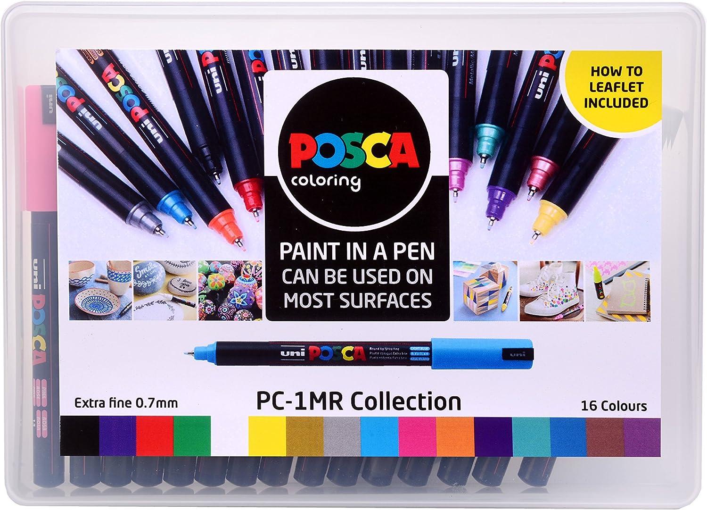 Posca 153544845, Pack de 16 Rotuladores de Pintura Al Agua, Set de ...