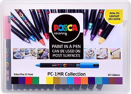 Posca 153544845, Pack de 16 Rotuladores de Pintura Al Agua, Set de 16 Espumosos, Multicolor: Amazon.es: Oficina y papelería