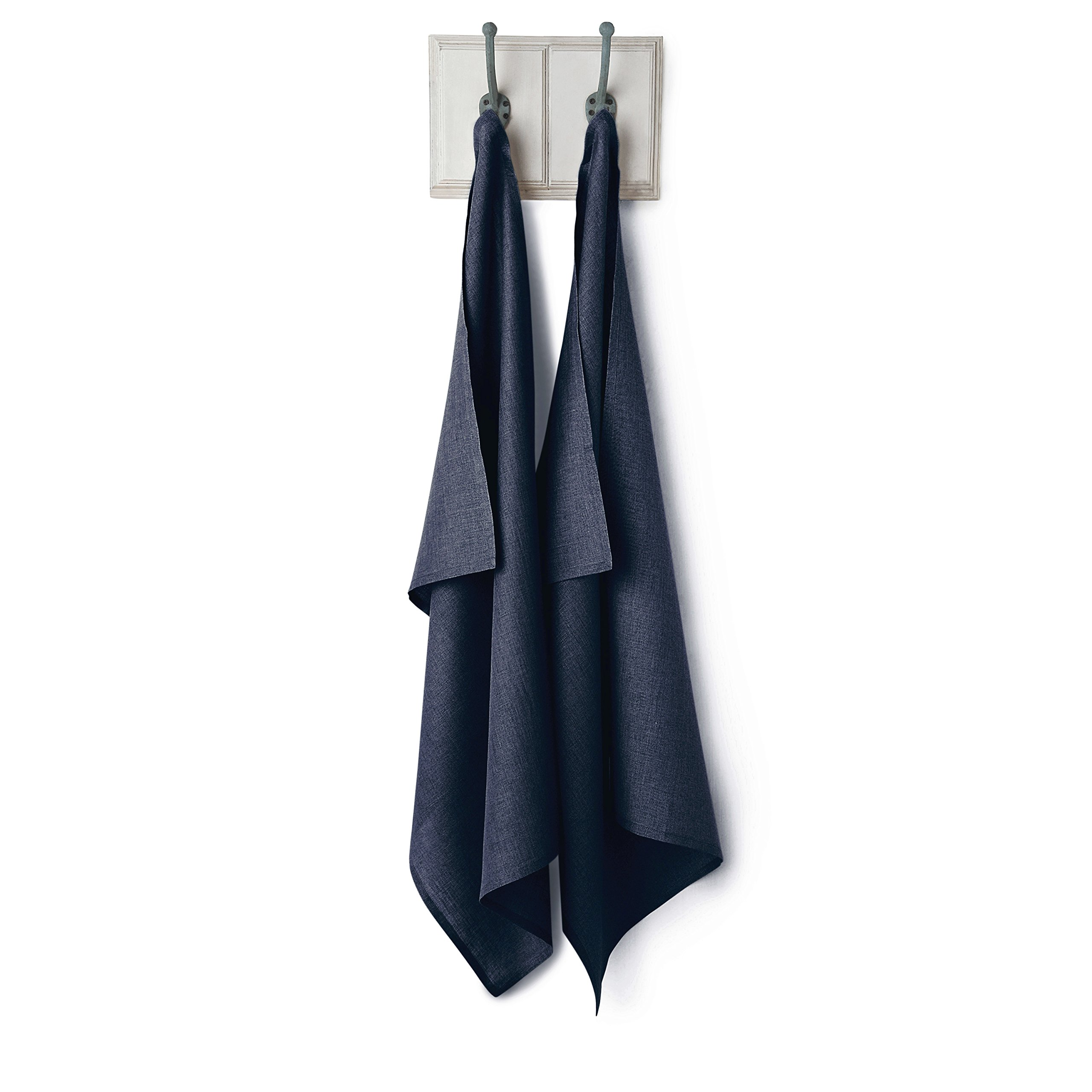 Solino Home Linen Kitchen Towel - 100% Pure Linen 17 x 26 Inch - Natural Fabric Handcrafted, Navy