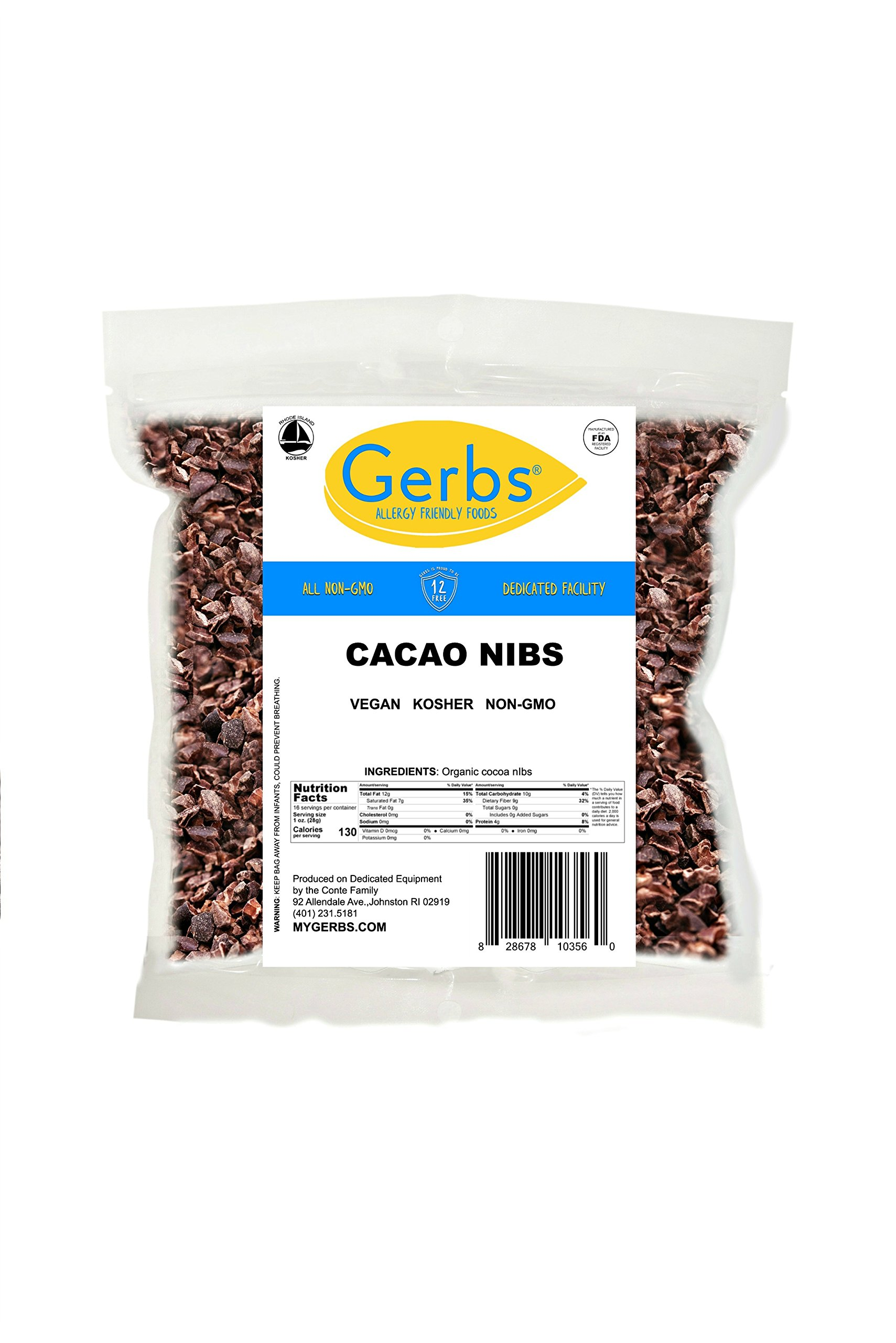 Cacao Nibs, 1 LB - Top 14 Food Allergy Free & NON GMO by Gerbs - Keto Safe -Product of Peru - Packaged in USA by GERBS