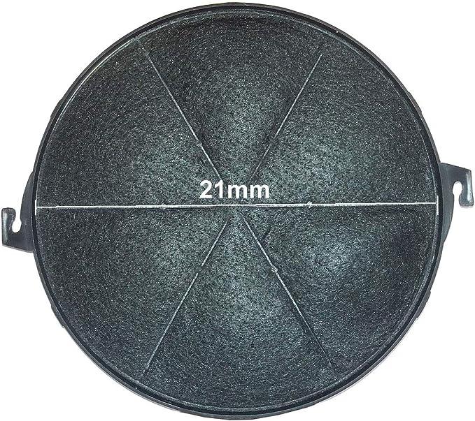 2 Stk. Filtro de carbón activado para campanas extractoras 21 cm, filtro de carbón universal redondo 210 mm x 18 mm – Modelo 21/S, ok6, ok9 apto para MASTER Cook Baumatic Gamma