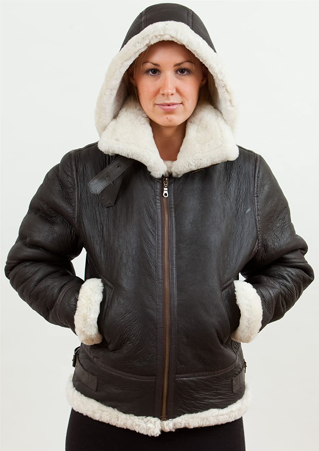 Womens Shearling Sheepskin Flying Jacket - Detach Hood - Soft ...