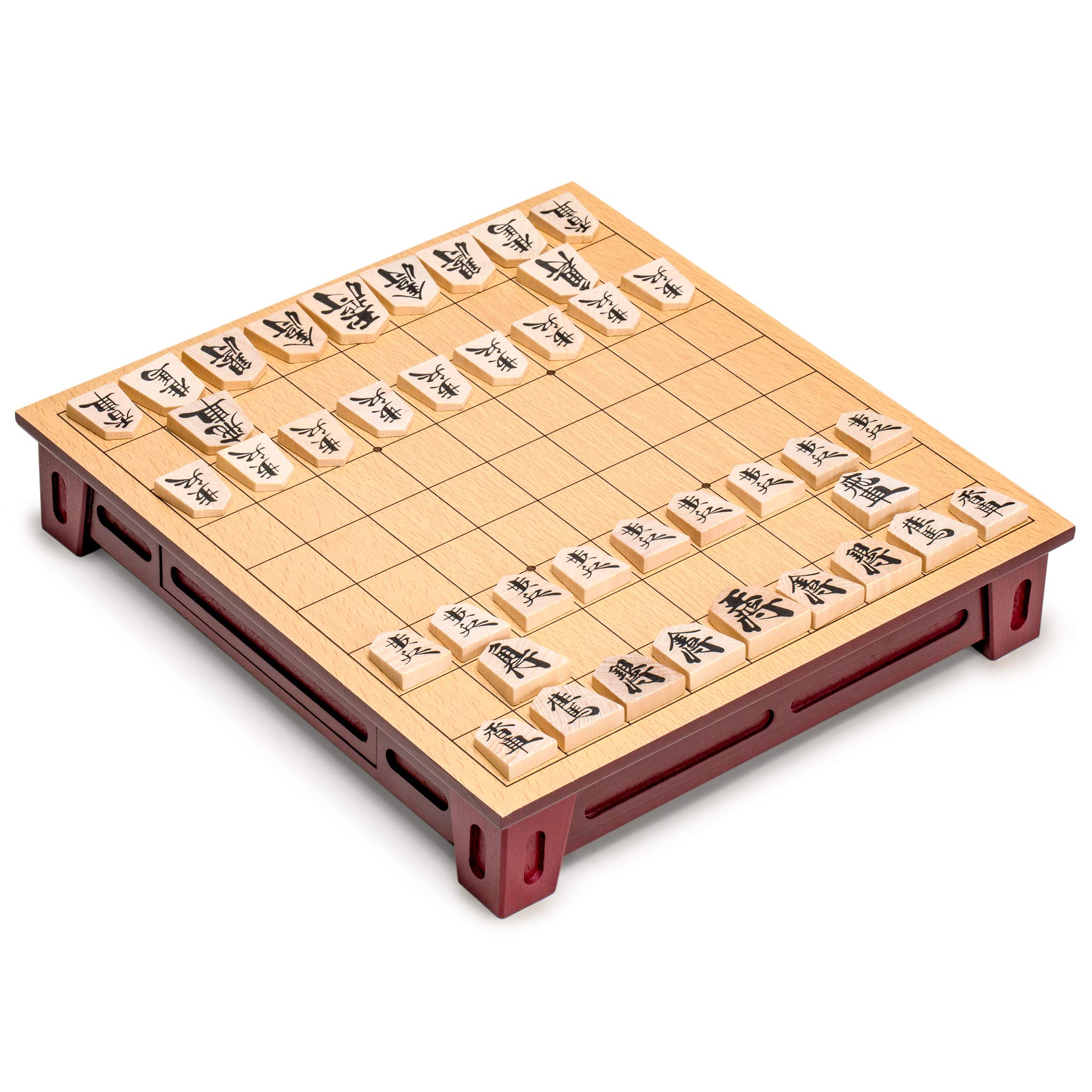 Yellow Mountain Imports Shogi Japanese Chess Game Set - Wooden Board with Drawers and Traditional Koma Playing Pieces