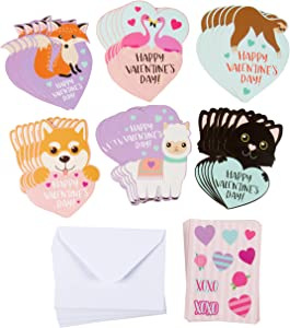 Animal Valentine's Day Cards with Envelopes and Stickers for Kids Classroom Exchange (36-Pack)
