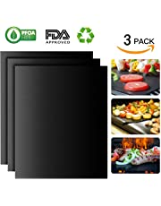 Sumger Barbecue Grill Mat Set of 3 - 100% Non Stick Large BBQ Grill Mats - FDA-Approved, PFOA Free, Reusable and Easy to Clean - Works on Gas , Charcoal , Electric Grill and More - 15.75 x 13 Inch
