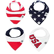 4th of July Bandana Drool Bibs – 4 Pack Patriotic USA Baby Bibs for Boys, Girls, Unisex - Freedom Set