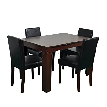 WestWood Quality Wooden Dining Table 4 PU Faux Leather High Back Chairs Set Kitchen Furniture FH