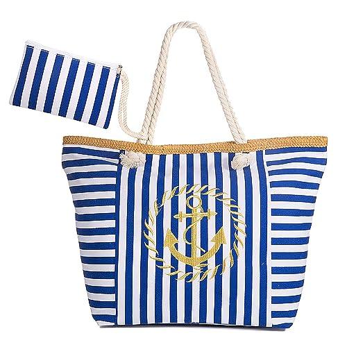 Maojuee Bolsa de Playa Grande Rayas Azules Bolsa de Playa de Lona Bolsos de Mano Shopper Bolsa de Playa Bolsas de Viaje con Cremallera para Mujeres y ...