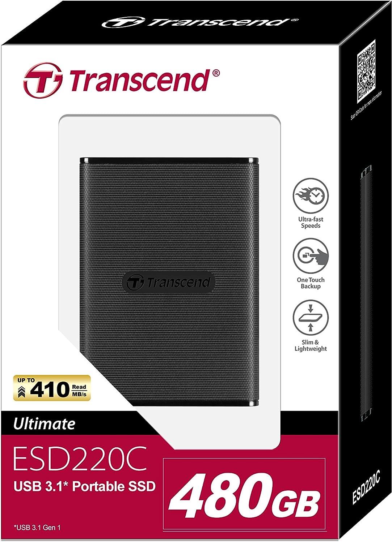 Transcend ESD220C - Disco Sólido Externo de 480 GB, USB 3.1 Gen 1 ...