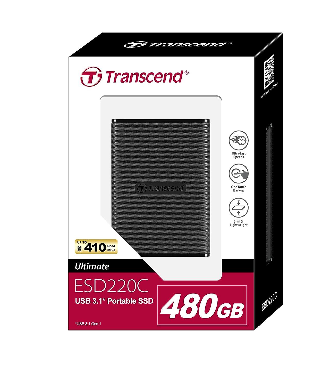 Lectura hasta 410MB//s, Escritura hasta 400MB//s Transcend ESD220C USB 3.1 Gen 1 tipo C Disco S/ólido Externo de 120 GB