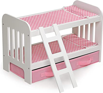 Badger Doll Bunk Bed with Ladder and Storage Baskets Fits American Girl Dolls