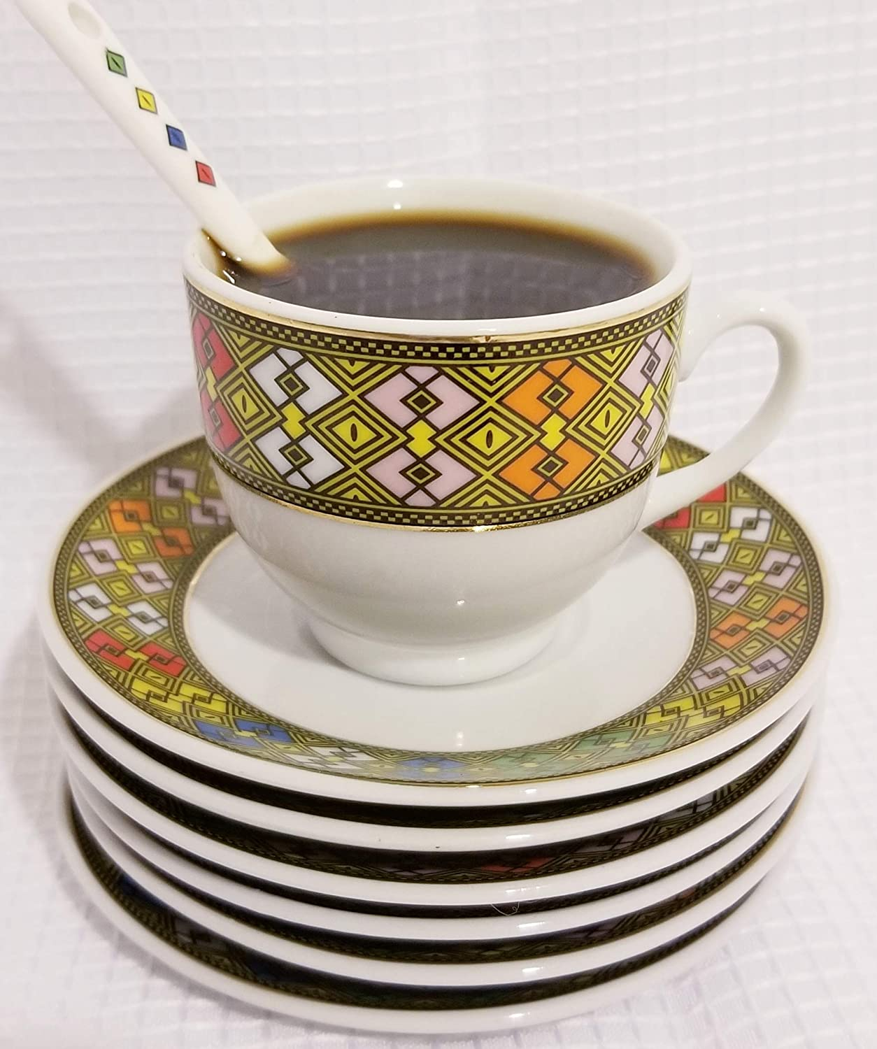 6 Caps and 6 Saucers Ethiopian Traditional Coffee Cup Set of