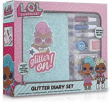 L.O.L. Surprise! Libreta Bonita Pequeña | Cuaderno A5 Notebook Con Cubierta de Brillo Glitter Glam Muñecas LOL Glitterati | Set Diario Cuadernos Bonitos LOL Con Accesorios |Para niñas de 4-10 años: