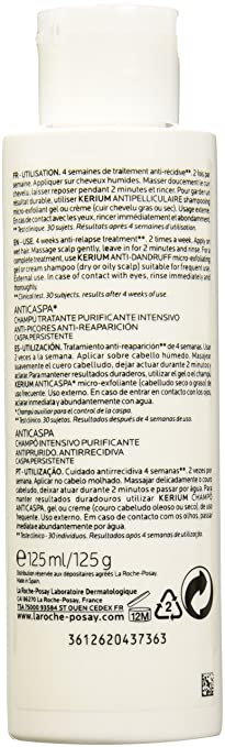 LA ROCHE POSAY champú anticaspa intensivo bote 125 ml: Amazon.es