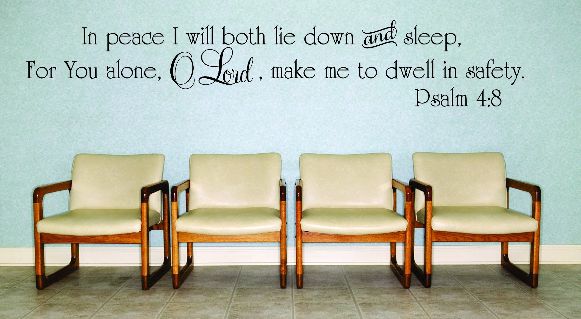 Design with Vinyl RAD 978 3 In Peace I Will Both Lie Down and Sleep, For You Alone, O Lord, Make Me To Dwell In SAFETY. Psalm 4;8 Bible Quote KJV Wall Decal, Black, 20 x 30''