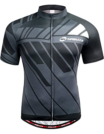e0dba7277 sponeed Men s Cycling Jerseys Tops Biking Shirts Short Sleeve Bike Clothing  Full Zipper Bicycle Jacket Pockets