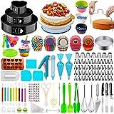 Cake Decorating Supplies,480 PCS Cake Decorating Kit 3 Packs Springform Cake Pans, Cake Rotating Turntable,48 Piping Icing Ti