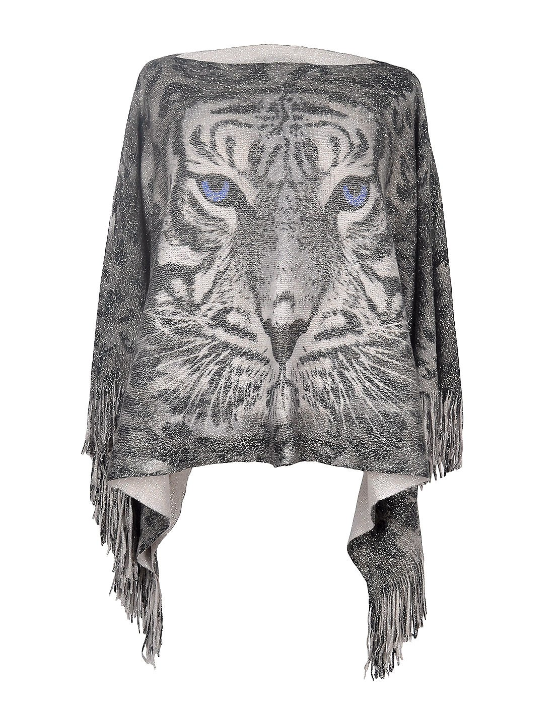 Lady's Tiger Pattern Tassels Sleeve Shawl Poncho Cape Batwing Tops for Women (Grey)