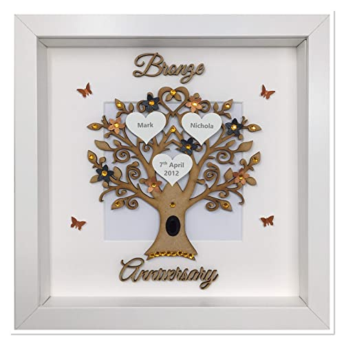 8th 8 Years 19th 19 Years Bronze Wedding Anniversary Family Tree Picture Frame Gift Personalised Wooden Amazon Co Uk Handmade