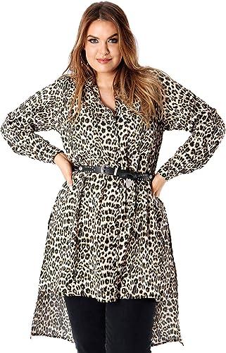 Koko Plus Size Women/'s Longline Leopard Print Shirt