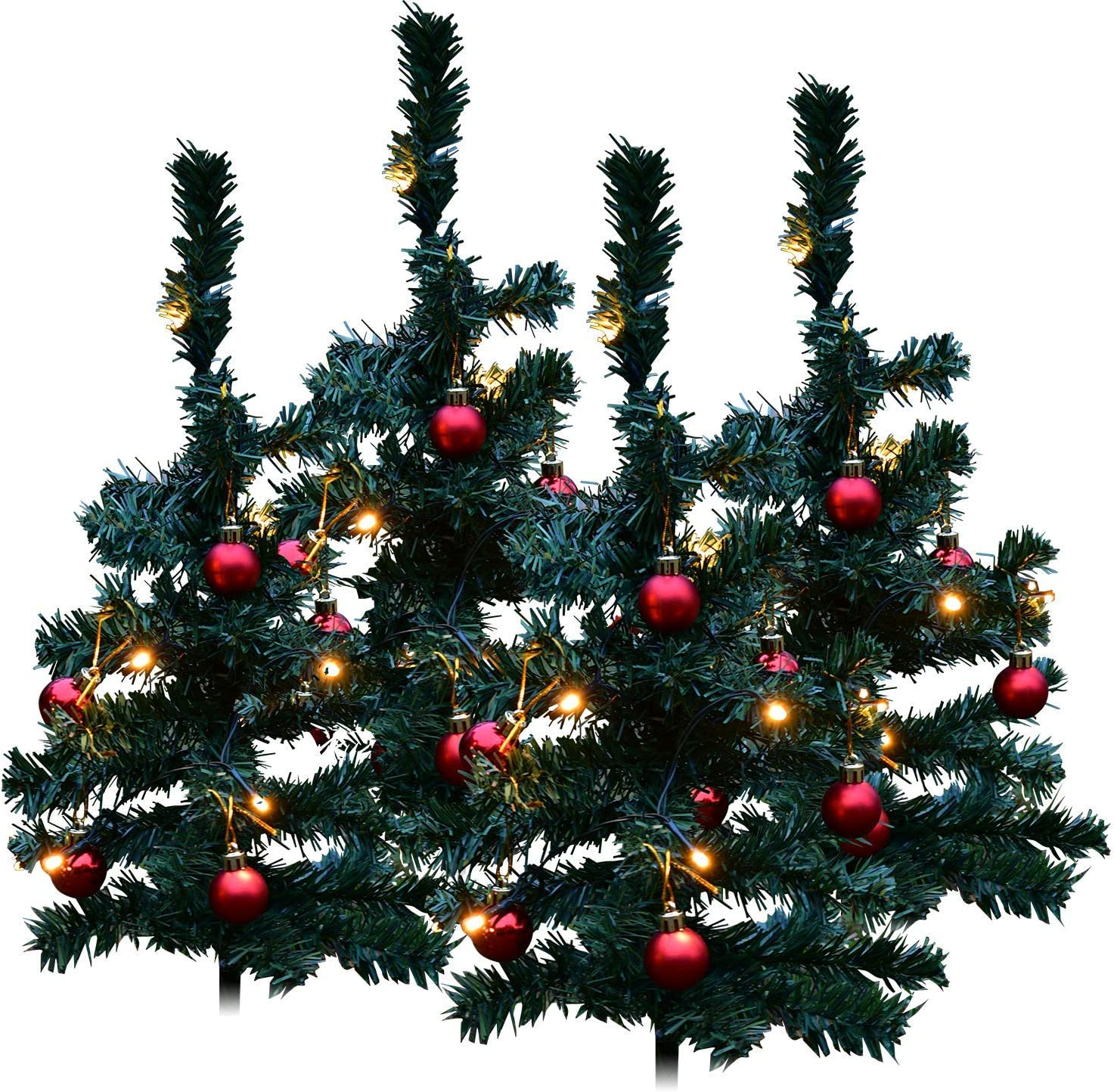 Outdoor Christmas Trees | Christmas Tree Pre-Lit Yard Decorations [Set of 4] Pathway with Timer Operated Led Lights | Includes Bonus Christmas Decal