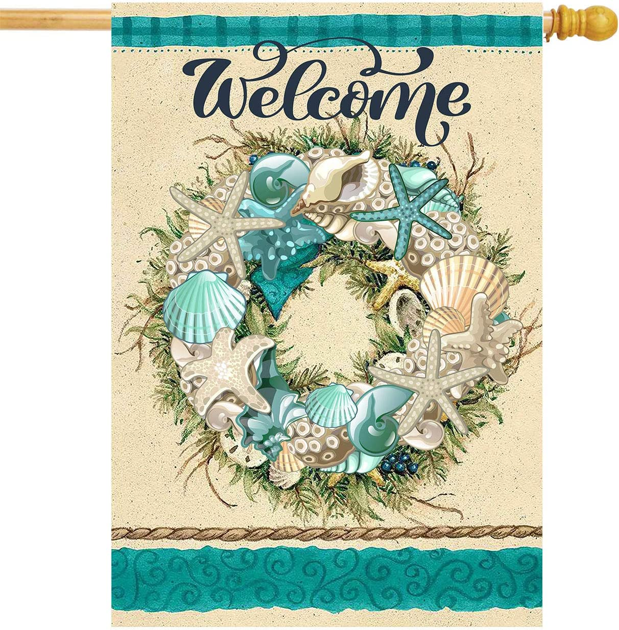 Summer Shell Coastal Wreath House Flag 28 x 40 Double Sided Retro Starfish Coral Nautical Garden Yard Flags Welcome Hello Summer Outdoor Indoor Banner for Party Home Decorations