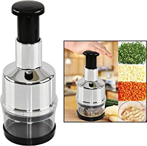 HOME-X Jumbo Food Chopper, Manual Handheld Kitchen Slicer with Stainless Steel ZigZag Blade-One Piece Salad Vegetable Chopper and Slicer-Manual Mini Hand Chopper-Onion, Garlic