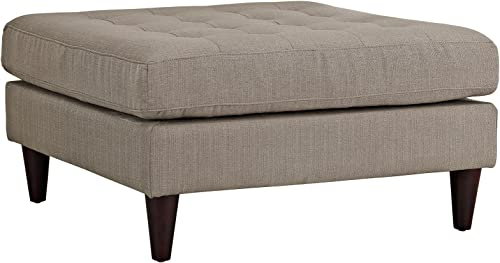 Modway Empress Mid-Century Modern Upholstered Fabric Large Ottoman In Granite