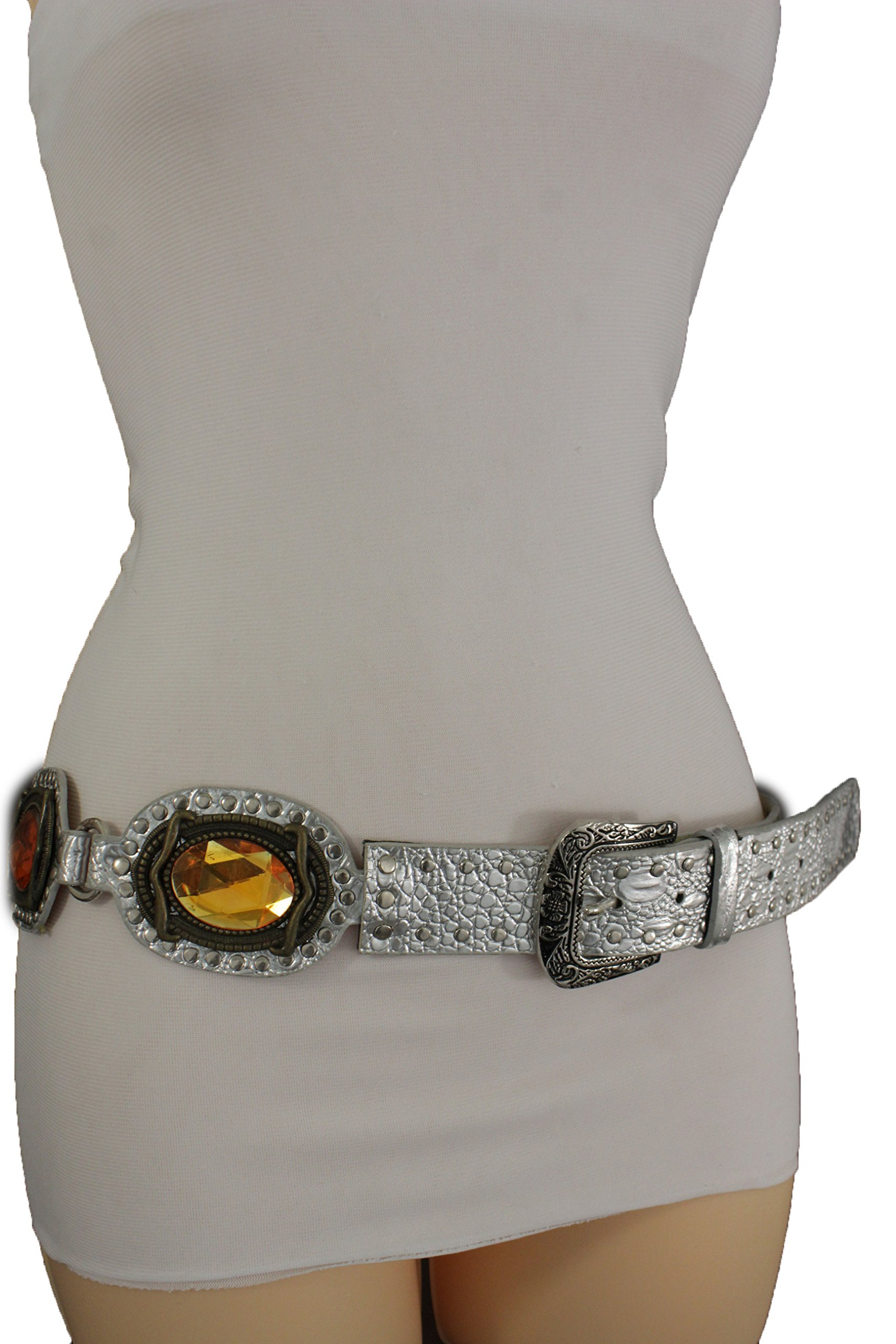 TFJ Women Fashion Ethnic Bohemian Belt Hip MEtallic Silver Faux Leather Big BeadsM L
