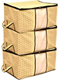 Kuber Industries 3 Piece Non Woven Underbed Storage Organiser Set, Extra Large, Cream