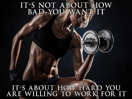 Fitness Model Poster Female Bodybuilder Workout Motivation 24x36 Sgv23