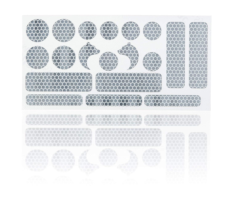High Performance 3m Reflektoren Aufkleber Reflex Sticker Set 19 Teilig Erhöhung Der Sichtbarkeit In Dämmerung Und Dunkelheit Für Kinderwagen Buggy Laufrad Fahrrad Helm Rollstuhl Gehhilfen Baby
