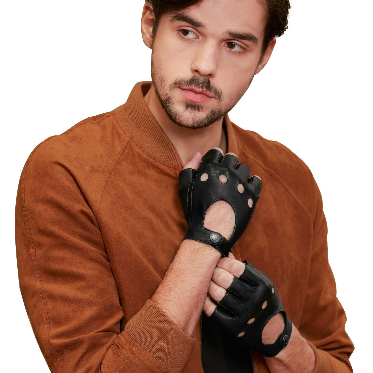 GSG Mens Fingerless Leather Gloves Driving Cycling Gloves Half Finger Fitness Motorcycle Protection Gloves Black Leather Gloves Men Unlined Backless 10.5 Black