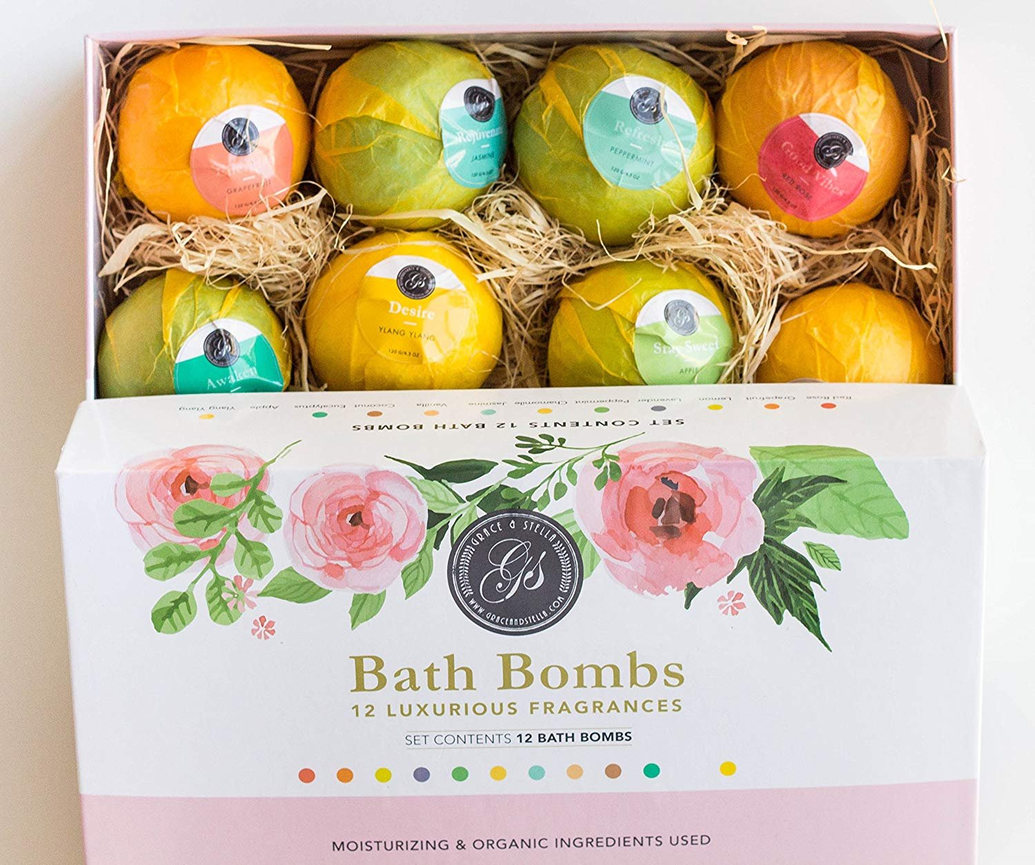 New Bath Bombs Variety Deluxe Set of 12 XL Assorted Fizzies - 120gram Each Individually Wrapped, All Different Scents - Natural Organic Vegan With Essential Oils. Perfect for Birthday, Anniversary, Bridal Shower (As Seen on Dragons Den) Grace & Stella Co.
