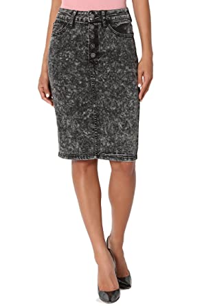 8c488c72492d TheMogan Women's Acid Wash Jean High Waist Midi Pencil Denim Skirt Black S