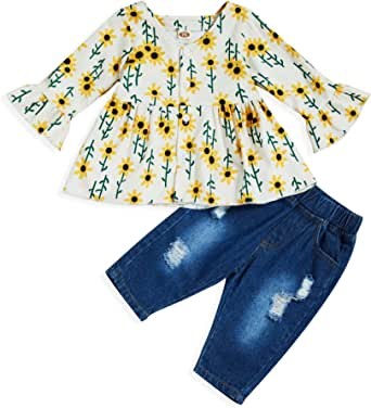 Baby Girls Clothes Toddler Ruffles Sleeve Floral Dressy Shirt + Ripped Denim Jeans 2pcs Summer Outfits