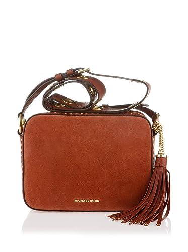75abba0f9cbe76 MICHAEL Michael Kors Womens Brooklyn Leather Crossbody Handbag Red Medium