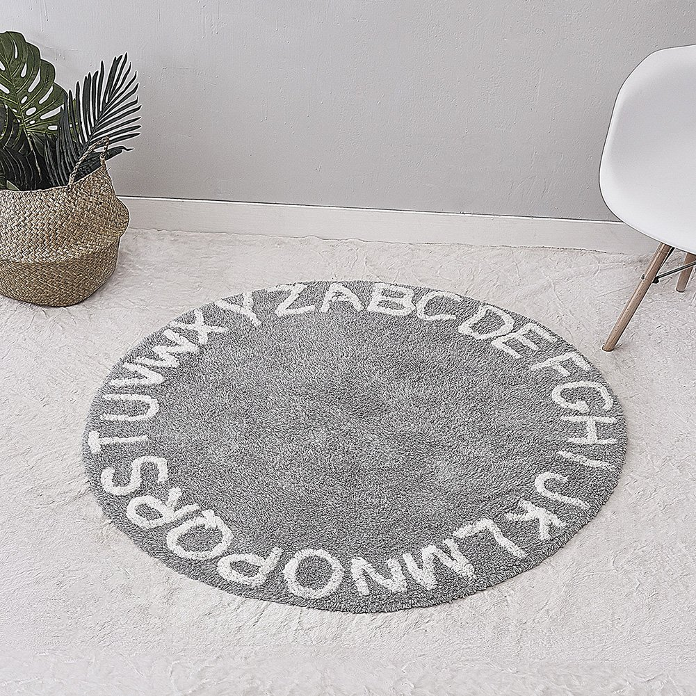 Frjjthchy Round Kids Play Mat Pad Non-slip Learning Area Rug with 26 Alphabet (Long plush grey)