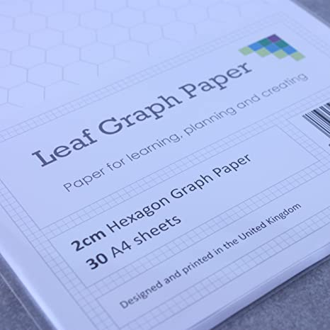 A4 Hexagon Graph Paper, 2Cm Hexagons, 30 Loose-Leaf Sheet, Grey