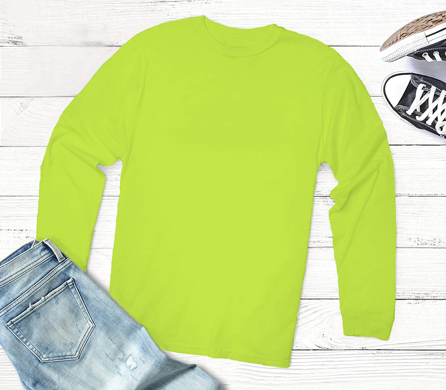 Adult Men Women High Visibility Long Sleeve T Shirt Miracle TM Neon Color Athletic Wicking T Shirts