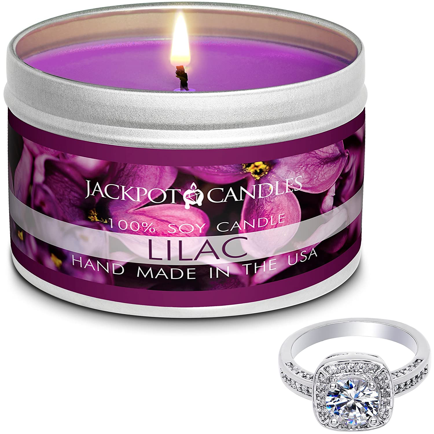 Jackpot Candles Surprise Size Ring Lilac Jewelry Candle Travel Tin TIN-140-RNG-SURPRISE