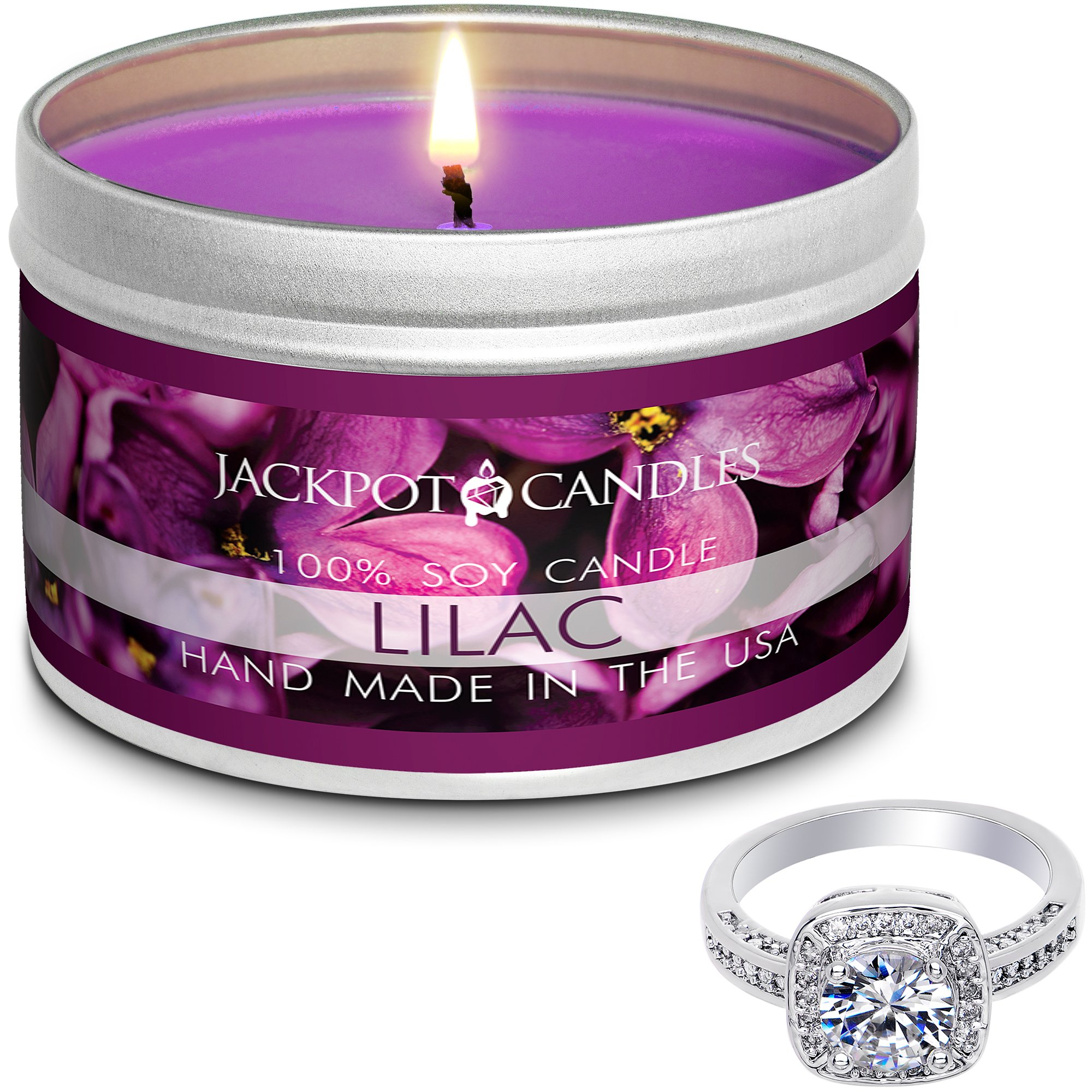 Jackpot Candles Surprise Size Ring Lilac Jewelry Candle Travel Tin