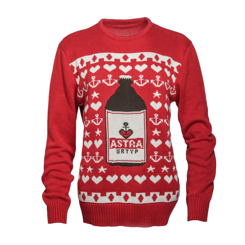 ASTRA Woll-Pullover, Weihnachts-Pulli, Xmas Sweater, rot, St. Pauli, für Männer und Frauen