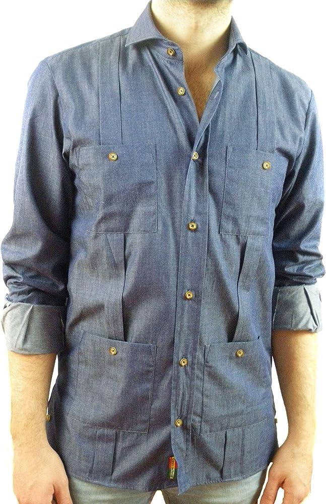 Camisa Guayabera Caballero Denim (S): Amazon.es: Ropa y accesorios