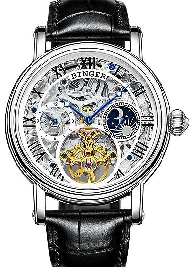 Hombres de la fase lunar reloj automático mecánico de acero inoxidable Skeleton Dial relojes de pulsera: BINGER: Amazon.es: Relojes