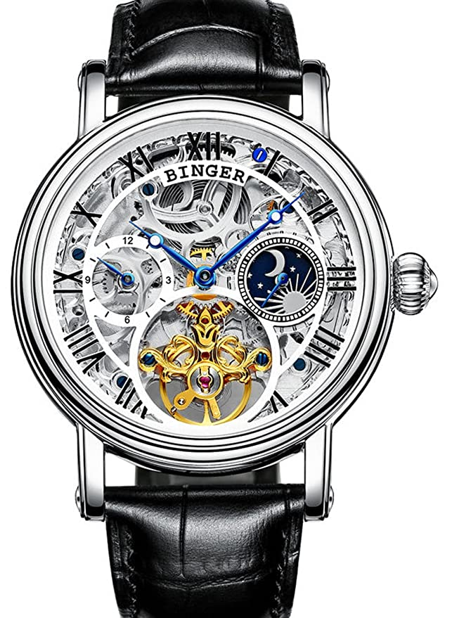 Amazon.com: Mens Moonphase Watch Stainless Steel Automatic Mechanical Skeleton Dial Wristwatches: BINGER: Watches