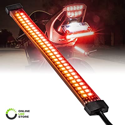 "8"" Red + Amber LED Motorcycle Turn Signal & Brake Tail Light Strip [IP67 Waterproof] [Dual Row] [RED Tail & Brake] [Amber Sequential Turn Signals] Flexible Tail Light Strip for Motorcycle Trailer ATV: Automotive"