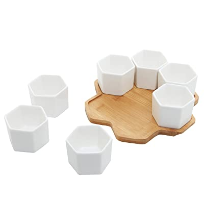 Set of 7 Modern Geometric Ceramic Succulent Planters with Bamboo Trays, Small Hexagon Plant Pots for Mini Cactus Home Decor: Garden & Outdoor