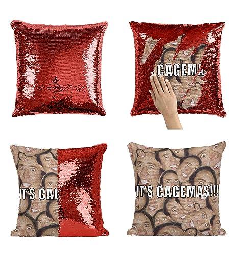 Christmas Nicolas Cage Heads Joke C05 Sequin Pillow Almohada ...